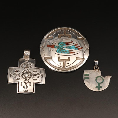 Mexican and Western Style Sterling Pendants and Brooch