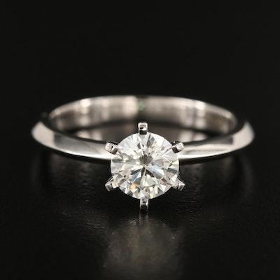 18K 0.98 CT Diamond Solitaire Knife Edge Ring