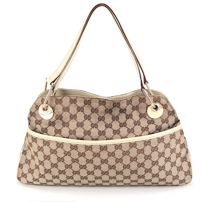 Gucci Eclipse GG Canvas and Leather Shoulder Bag