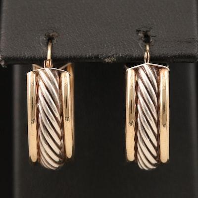 14K and Sterling Oval Hoop Earrings