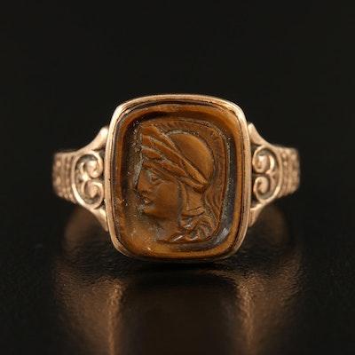Circa 1900s 10K Tiger's Eye Recessed Cameo Roman Soldier Ring