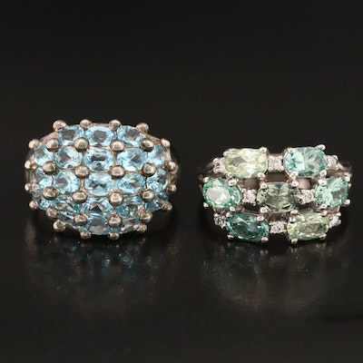 Sterling Rings Including Swiss Blue Topaz, Prasiolite and Cubic Zirconia
