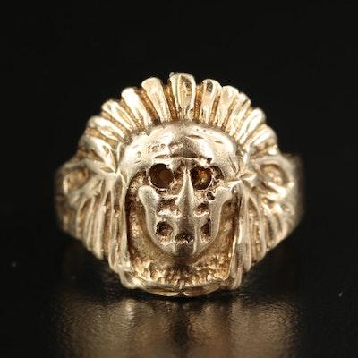 10K Skull with Native American Style Headdress Ring