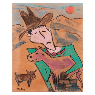 """Stefan Georg Acrylic Painting """"Cattleman with Baby,"""" 2021"""
