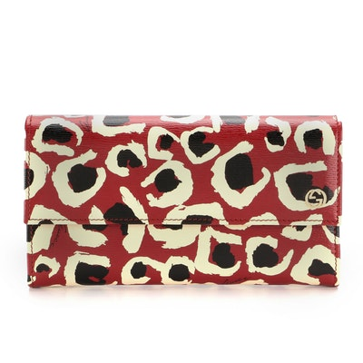 Gucci Betty Leo Continental Wallet in Abstract Leopard Print Leather