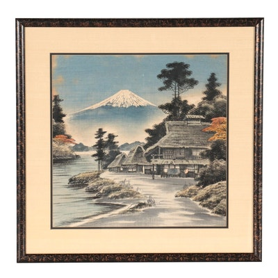 Japanese Style Landscape Ink Wash Painting, Mid-20th Century