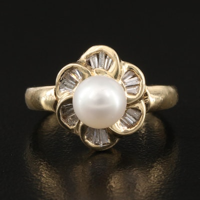 14K Pearl and Diamond Flower Ring