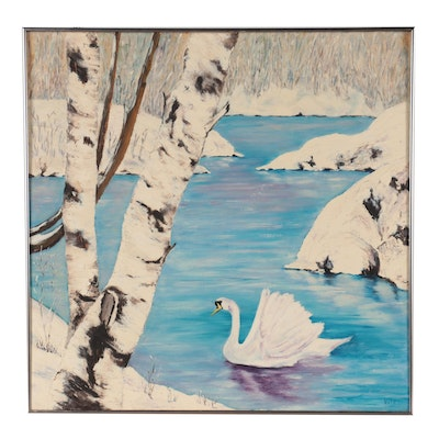 Swan in Winter Landscape Oil Painting, Late 20th Century