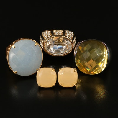 Selected Rings and Earrings Featuring a Sheila Fajl 'Glow' Ring