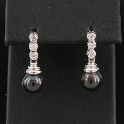 14K Pearl and Diamond Drop Earrings