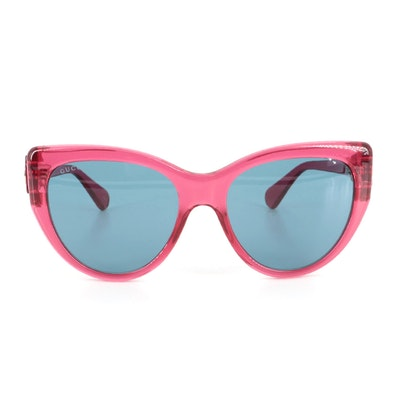 Gucci GG0877S Modified Cat Eye Sunglasses with Burgundy Velvet Case