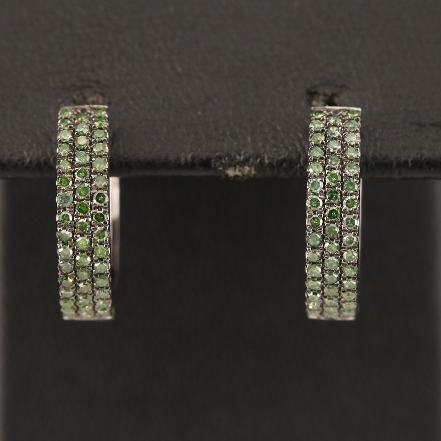 Sterling Green Diamond Huggie Earrings