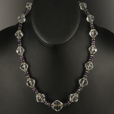 Art Deco Graduated Rock Crystal Quartz Necklace with Amethyst and Black Onyx