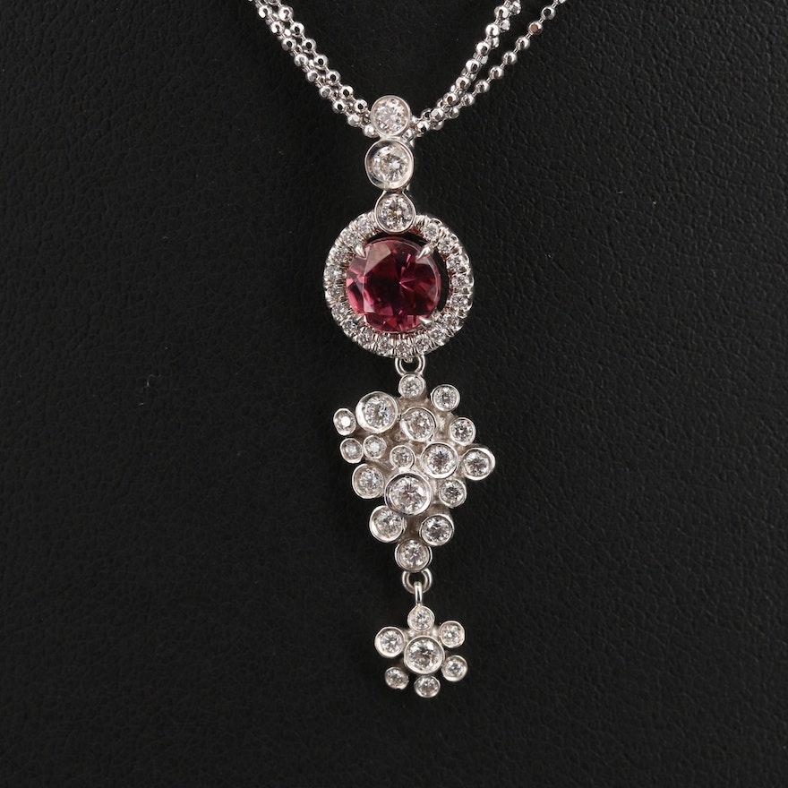 Katherine James 18K Tourmaline and Diamond Pendant on Italian Chain Necklace