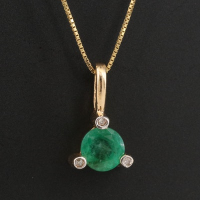 14K Emerald and Diamond Pendant Necklace