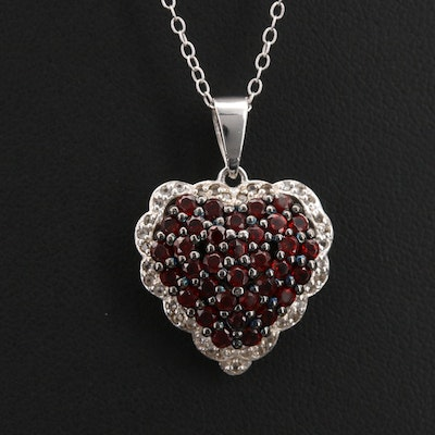 Sterling Citrine and Topaz Heart Pendant Necklace