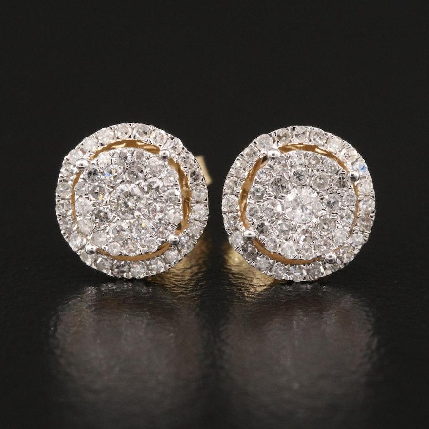 14K Pavé Diamond Stud Earrings