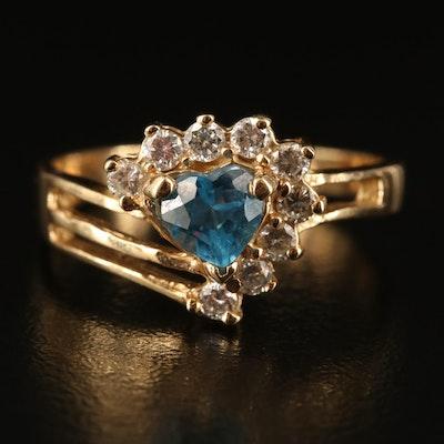 14K Swiss Blue Topaz and Diamond Ring