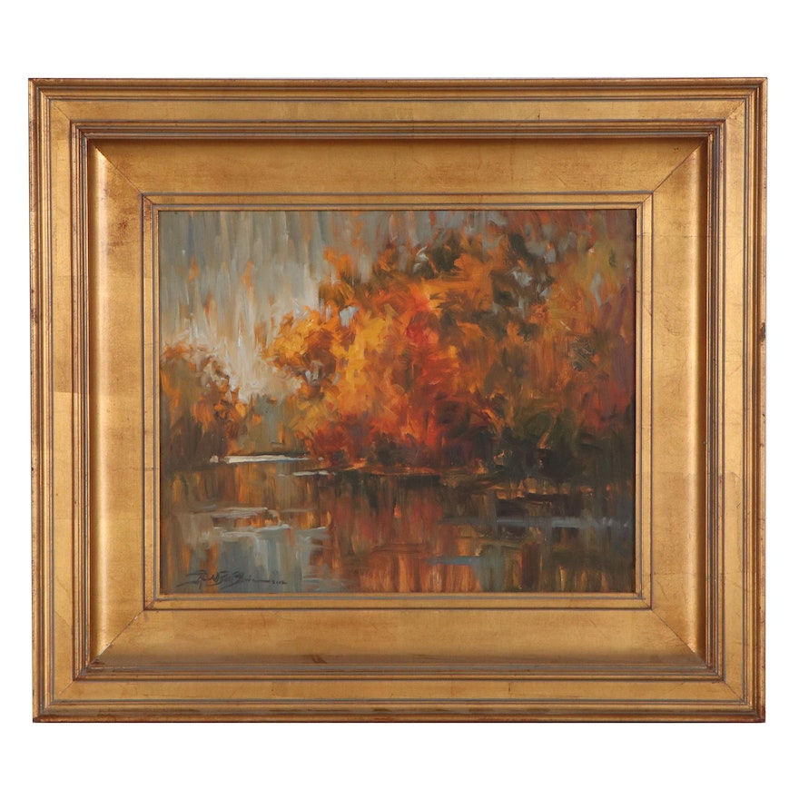 Abstract Autumnal Landscape Oil Painting, 2002