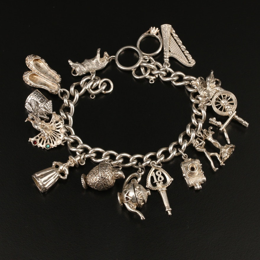 Sterling Charm Bracelet With Rhinestone Accents