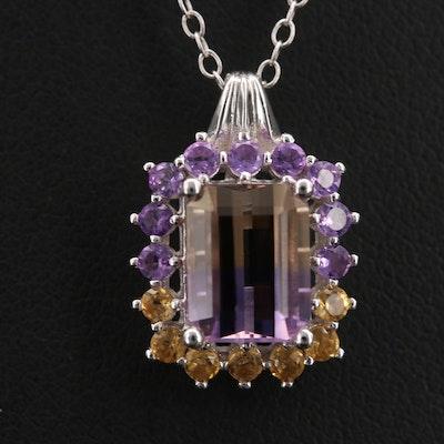 Sterling Ametrine, Amethyst and Gemstone Pendant Necklace