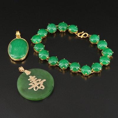 Quartz and Nephrite Pendants and Bracelet