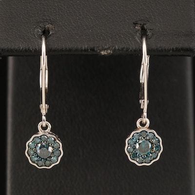 Sterling Blue Diamond Cluster Earrings