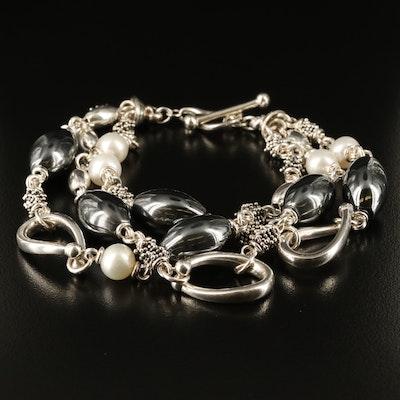 Michael Dawkins Multi-Strand Sterling Silver Pearl and Hematite Beaded Bracelet