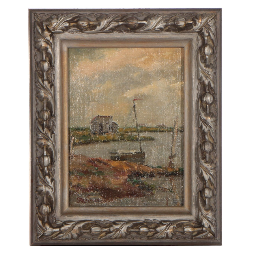 Landscape Oil Painting With Sailboat, Early 20th Century