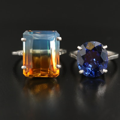 Sterling Sapphire and Mystic Quartz Ring
