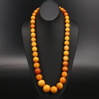 Graduated Mutton Fat Amber Necklace