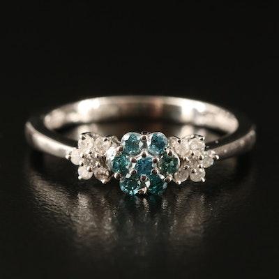 14K Diamond  Flower Ring