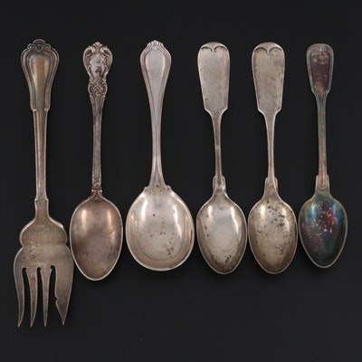 """Gorham """"Norfolk"""" Cold Meat Serving Fork and Other Sterling and Plate Spoons"""