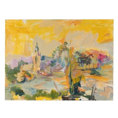 Kathy Lerner Abstract Landscape Oil Painting, 1995