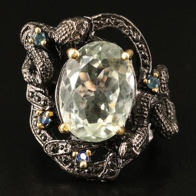 Sterling Prasiolite and Sapphire Snake Ring