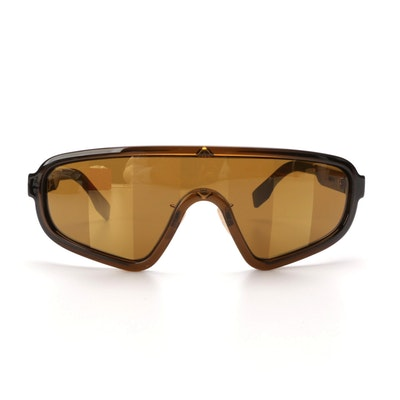 Fendi Pequin Striped Lens Shield Sunglasses with Red Case
