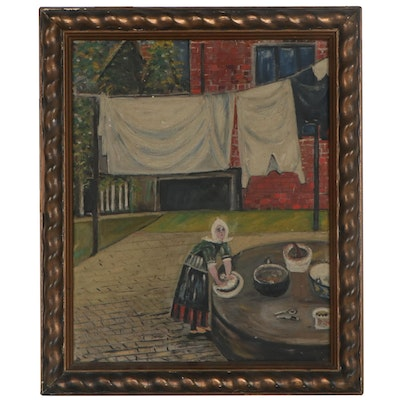 Folk Art Style Oil Painting of Woman Washing Clothes, Early 20th Century