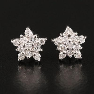 Italian 18K Diamond Star Button Earrings