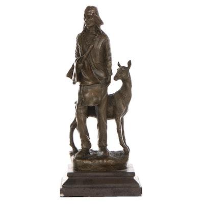 Bronze Sculpture of Native American Man and Deer
