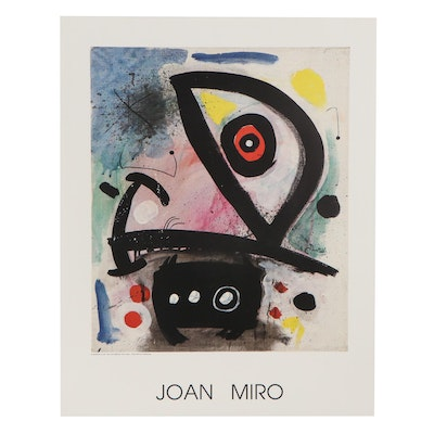 """Offset Lithograph Poster After Joan Miró """"Mujer Bajo la Luna,"""" 21st Century"""