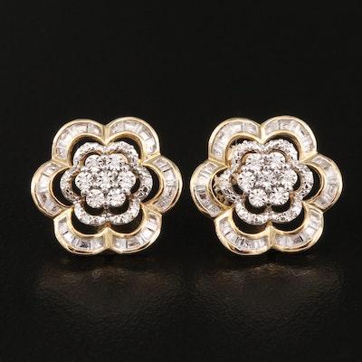 10K Diamond Floral Button Earrings