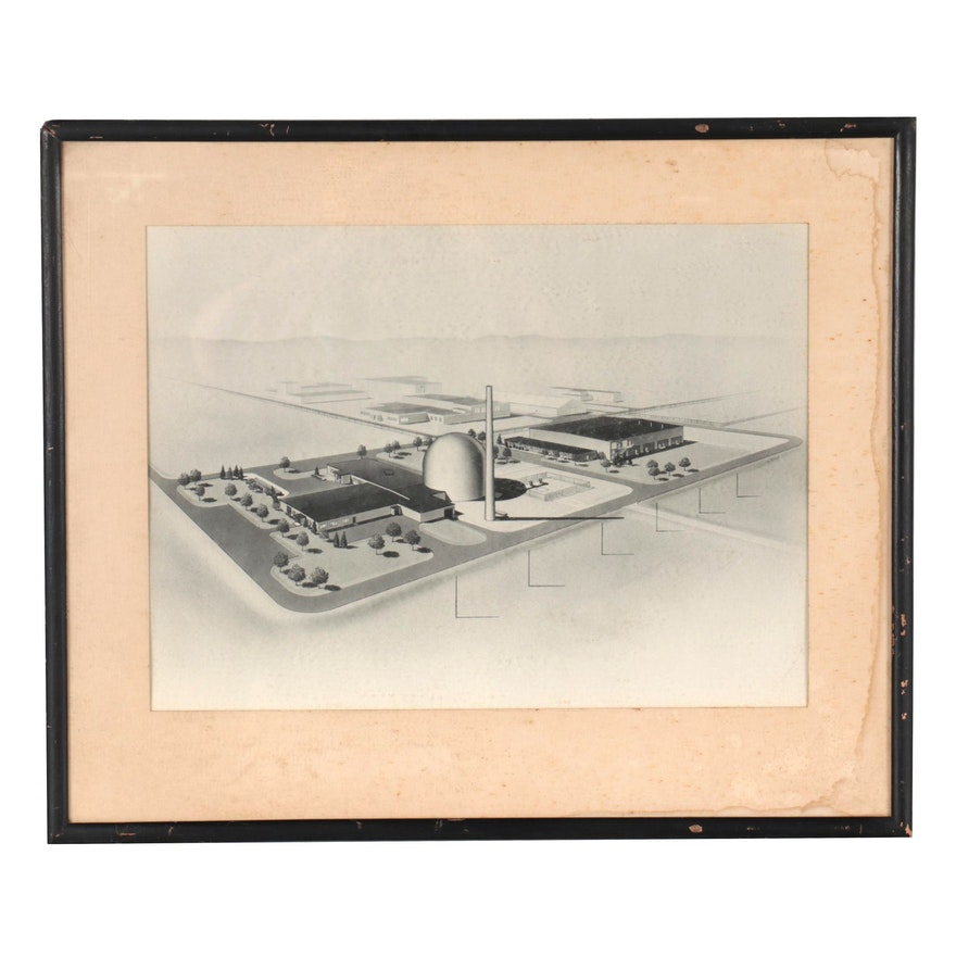 Lithograph of Building Architecture, Mid to Late 20th Century