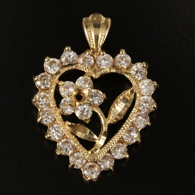 14K Cubic Zirconia Flower and Heart Pendant