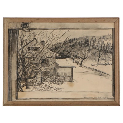 Winter Landscape Ink Painting of Cabin, 1948