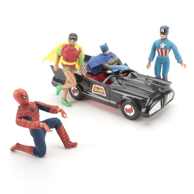Mego Batman, Robin, Spiderman, and Captain America Dolls with Batmobile, 1974