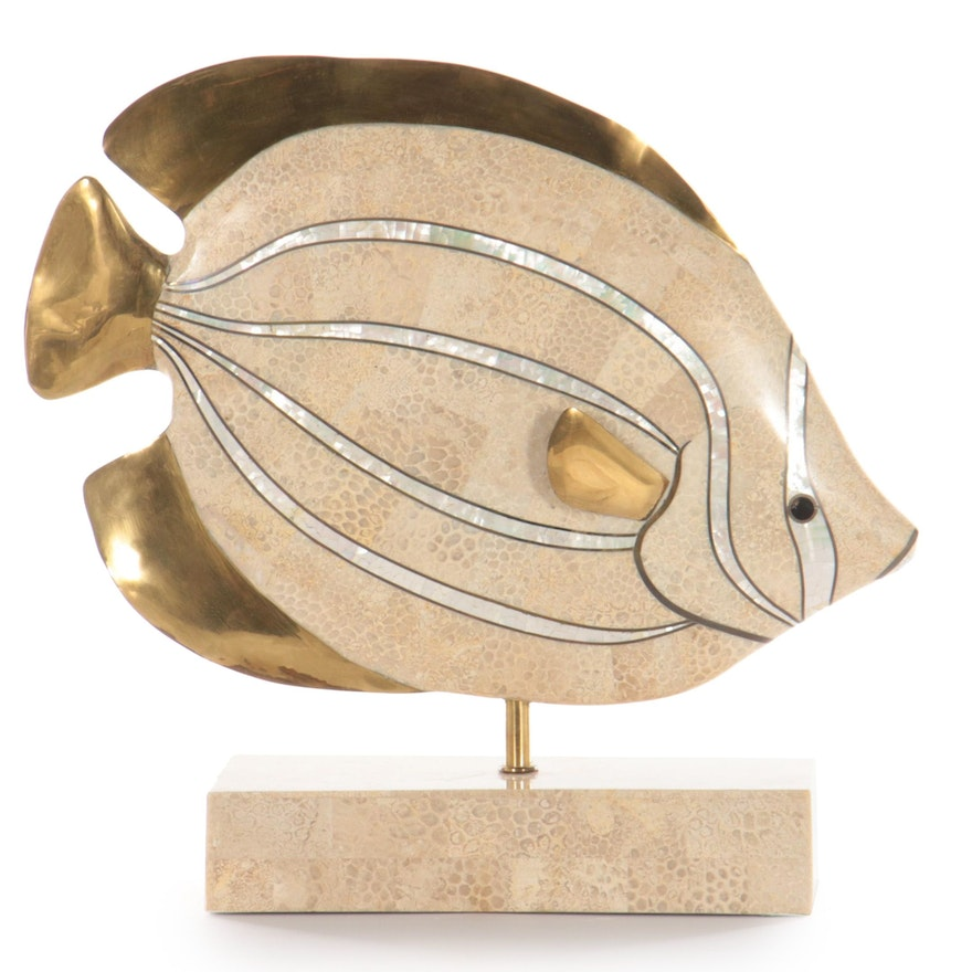 Mixed Media Sculpture of Fish, Late 20th Century