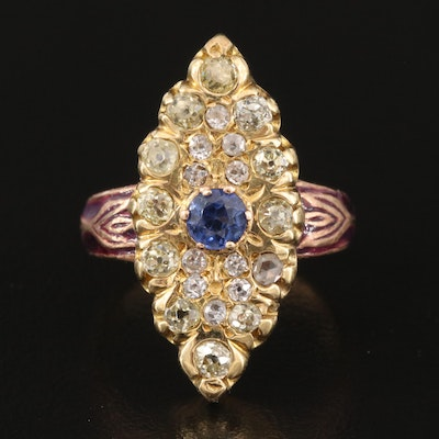 Vintage 18K Sapphire and Diamond Ring with 14K Rose Gold Shank
