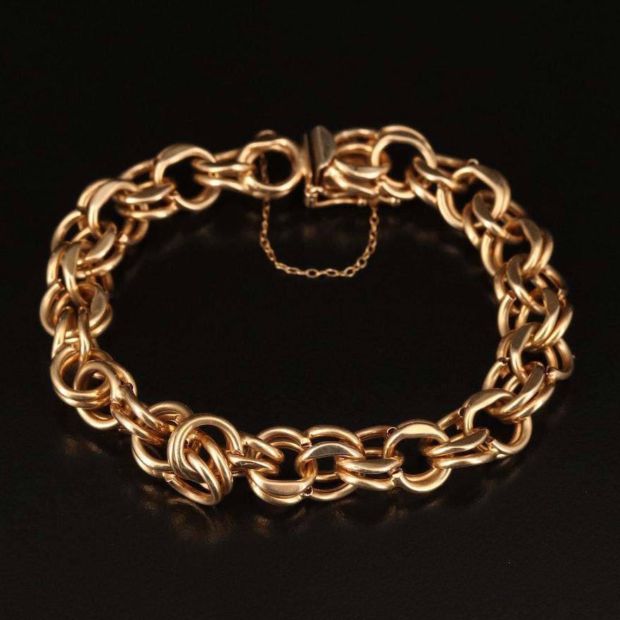 1970s 14K Double Link Curb Bracelet