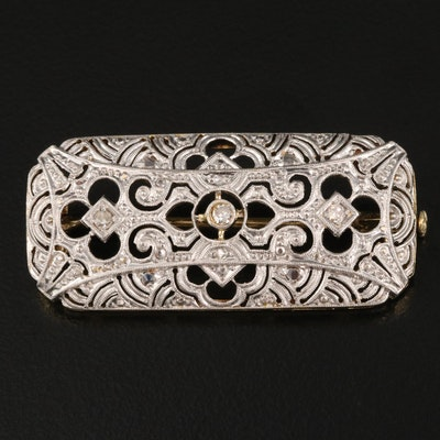 Vintage Platinum and 14K Diamond Brooch