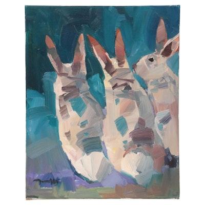 "Jose Trujillo Oil Painting ""Baby Bunnies,"" 2021"